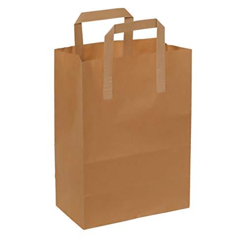 Fast Pack Sac en Papier - Poignée Plat - 22x12x30-70gsm - 50 piéces - Papier Kraft Marron - Non imprimé -0 Recyclable