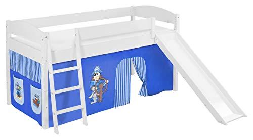 Lilokids Lit surélevé ludique IDA 4105 90x200 cm Pirate Bleu - Lit surélevé évolutif Blanc laqué - avec Toboggan et Rideaux