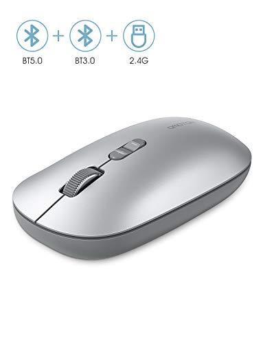 OMOTON Kabellose Maus, Bluetooth5.0 + Bluetooth3.0 + 2.4 GHz Verbindung via Unifying USB-Empfänger, 3 Modus Funkmaus für PC/Tablet/Laptop mit Windows/Mac/Linux/Android/iOS System, Silber