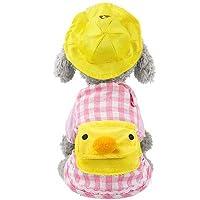 RUIMA タータンチェックのパーカー付き帽子用の穴付き小型犬チワワの子犬猫バッグトレーナーダック漫画のペット服犬パーカーセットイエロー コスチューム (Color : Pink, Size : XXL)