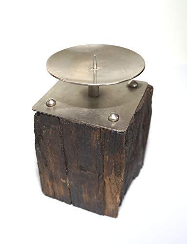 D&M Kerzenhalter Antikholz/Treibholz mit Alu-Kerzenteller 10cm x 17cm