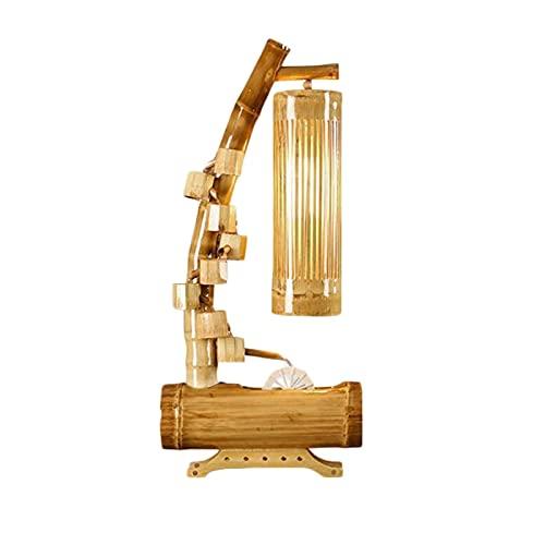 LLSS Fuente de bambú de Mesa Fuente de Cascada Paisaje Fuente Interior Creativa con meditación Ligera Decoración del hogar Regalo del día de San Valentín Fuente de Mesa