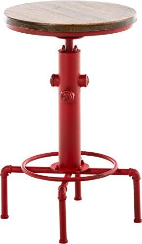 Mesa Lumos Industrial Look I Mesa Redonda De Madera I Mesa De Centro Con Base De Metal I Mesa De Café Regulable En Altura I Color:, Color:rojo