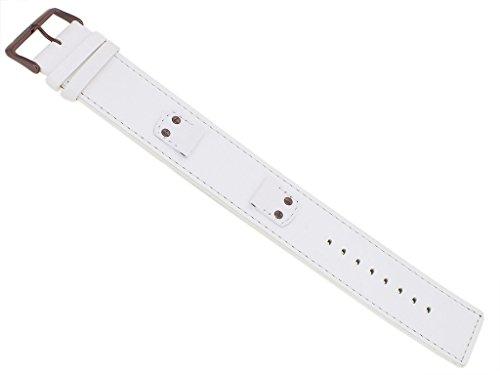 Bruno Banani Ersatzband Uhrenarmband Leder Band weiß glatt für Rectangular Ladies 33196