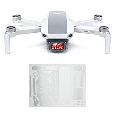 Wrapgrade Skin Sticker compatible with DJI Mavic Mini | Accent Color (AIRFORCE SILVER)