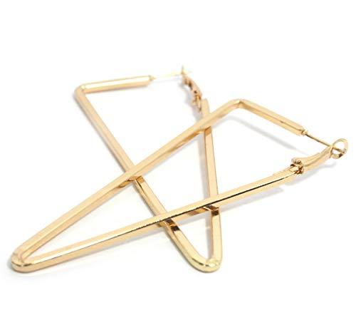 2LIVEfor Hoops Ohrringe Creolen Dreieck Gold Breit Ohrhänger Hoop Ohrringe Groß Reifen Creolen Eckig hoops Earrings creolen rechteckig creolen dreieckig
