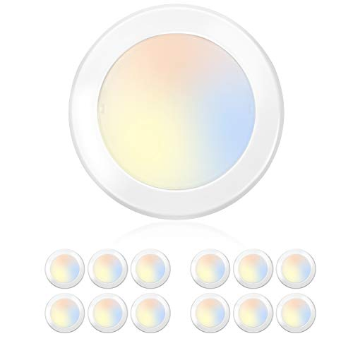 Hykolity 5/6 Inch Selectable CCT LED Disk Light Flush Mount, 3000K/4000K/5000K Adjustable, Dimmable Recessed Retrofit Ceiling Light, CRI90, 1050lm, 15W, Installs Into J-Box or Recessed Can, 12 Pack