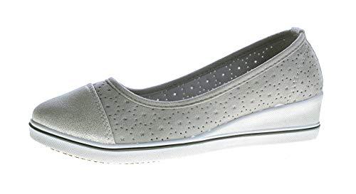 stahl-moden Damen Keil Ballerina Kunst Leder Halb Schuhe Wedges matt glänzend Grau Silber 40
