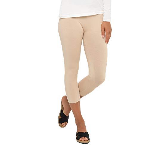 Celodoro - Leggings para mujer (3/4 Capri), tejido elástico de algodón beige XXL