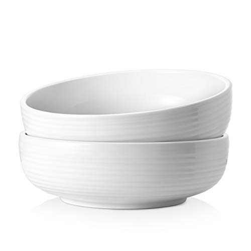 DOWAN 2.5 Quarts Large Serving Bowls, 9.6 Inches Salad Bowls with Non Slip Ripples, Ceramic Bowls for Soup, Pasta, Microwave & Dishwasher Safe, Set of 2, White