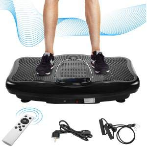 Vibrationsplatte 2D Wipp Vibrations Ultra leisem 180 Stufen Mit 4 Trainingsprogramme Bluetooth Lautsprecher Extra große Fläche Motor Trainingsbänder Fernbedienung Body Shaping Muskel Bauen(schwarz)