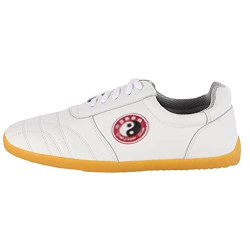 Negro Unisex Zapatos de Tai Chi Artes Marciales, Tradiciones Chinas Zapatos de Kung Fu Wing Chun para Hombres y Mujeres, Zapatillas de Entrenamiento Deporte para Boxeo, Ka(Size:43EU/12US,Color:blanco)