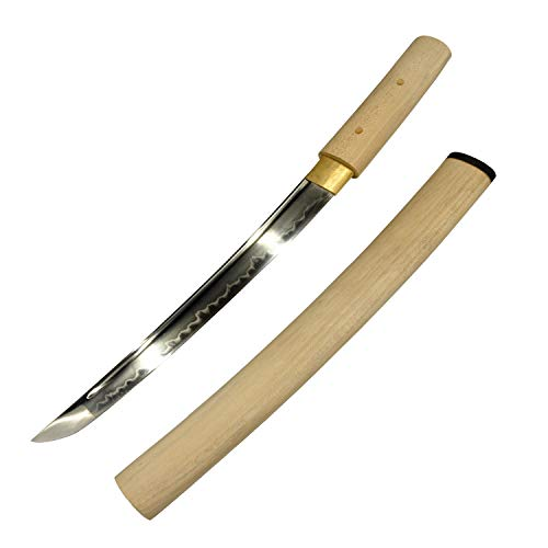 Yongli Sword Handmade Short Katana Japanese wakizashi Tanto Samurai Sword Sharp Blade T10 Steel Clay-Tempered (Crude Wood)
