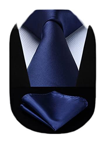 HISDERN solide bleu marine cravate mouchoir f¨ºte de mariage cravate classique pochette ensemble pour hommes