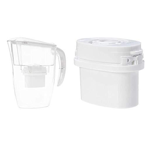 AmazonBasics - Caraffa filtrante per Acqua, 2,4 L + Cartucce filtranti, Confezione da 6
