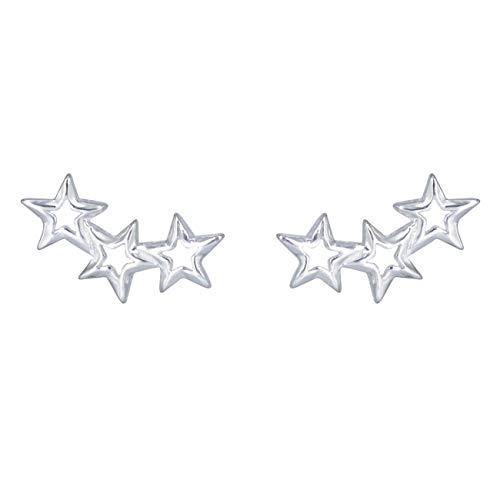 GALBLA - Pendientes de plata de ley 925 con 3 estrellas de circón simulado para mujer