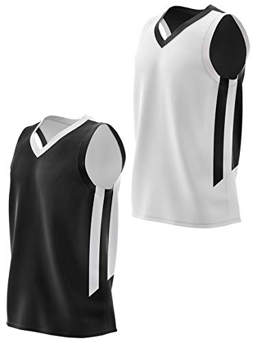 Youth Boys Reversible Mesh Performance Athletic Basketball Jerseys Blank Team Uniforms for Sports Scrimmage (1 Piece) (Blk/Wht, Youth Large)