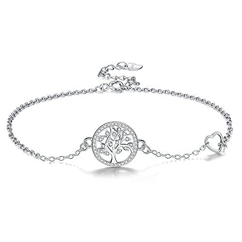 Micory Lebensbaum Fußketten Damen 925 Sterling Silber Herz Fußketten mit Zirkonia für Geschenk für Frauen Mädchen