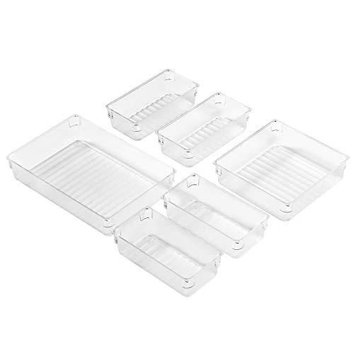 InnoGear 6 Stücke Getrennte Schublade Organizer Ordnungssystem mit 3-Größen-Aufbewahrungsboxen aus durchsichtigem Kunststoff Divider Make-up Organizer für Küche Büro Schminktisch