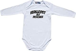 ShirtInStyle Manches longues body bébé Carnaval habillé als Designer, Costume se déguiser - Blanc, 50/56