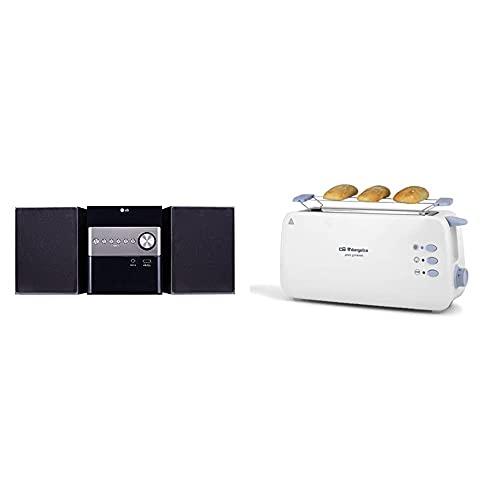 LG Cm1560 Microcadena, Color Negro + Orbegozo To 4012 Tostadora De Ranura Larga, Calienta Panecillos, 7 Niveles De Tostado
