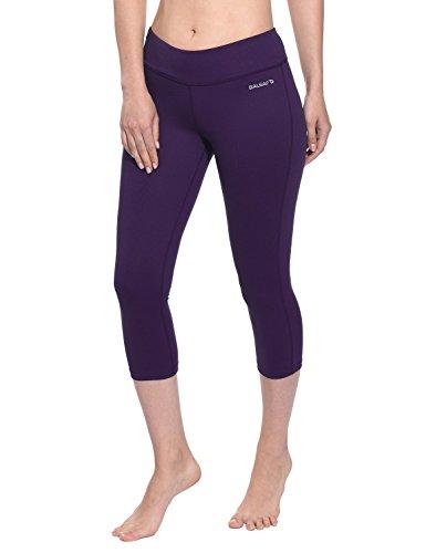 Baleaf Women's Yoga Capri Pants Workout Running Legging Inner Pocket Gothic Grape Size M