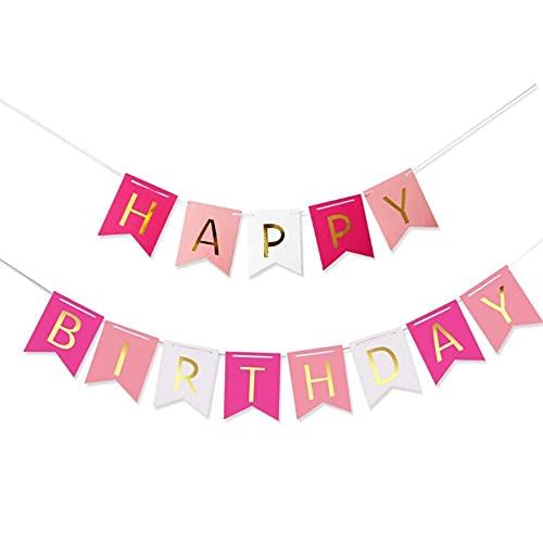 Voarge Guirnalda de cumpleaños con texto 'Happy Birthday', color rosa, blanco y dorado, decoración para fiestas de cumpleaños, guirnalda de cumpleaños