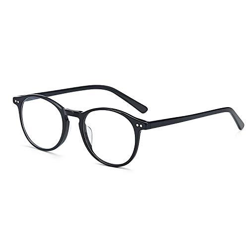 ZENOTTIC Rund Brille Klassische Nerdbrille Ohne Sehstärke Brillengestelle Damen Brillenfassung Fake Brille Ohne Stärke für Kinder, Schwarz, S