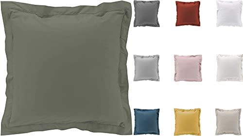 2 fundas de almohada de percal 100% algodón, 63 x 63 cm, color verde caqui