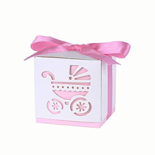 Wolfteeth 50 cajas portapeladillas con cajita de regalo con 50 cintas para nacimiento, bebé, ducha, niño, niña, bautizo, fiesta, rosa 788804