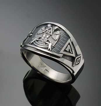 Punk Business Men's Fashion Double Eagle Retro Ring Luxury Square Scottish Etiquette Ring Masonic Ring Cigar Band Style Jewelry,12