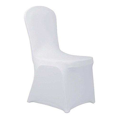 HAORUI Conjunto de Cubiertas Spandex Stretch Lycra Chair de 4 Modernas Fundas de poliéster Lycra Silla para Bodas Evento Aniversario Dinning Decoración(Un Paquete de 4, Blanco)