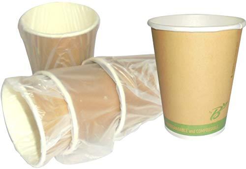 SDG Lot de 50 gobelets de 266 ML 100% biodégradables emballés Individuellement en Papier Biologique pour Boissons Chaudes et Froides