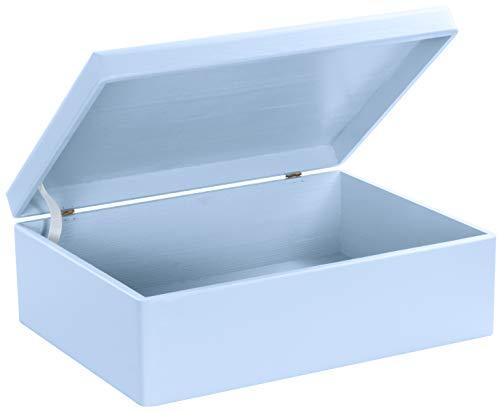 Grinscard Baule in legno porta accessori e ricordi per neonati - Blu ca. 40 x 30 x 14 cm - Indimenticabile idea regalo