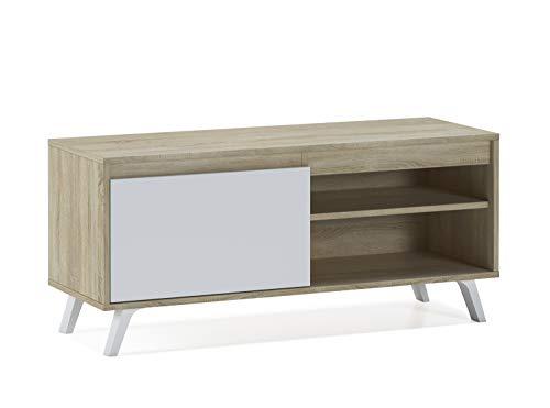 Home Heavenly - Mobile TV per soggiorno, sala da pranzo, tavolo TV, stile nordico con ampio spazio di archiviazione, fabbricazione europea in bianco e bianco rovere naturale (100 cm, bianco robo)
