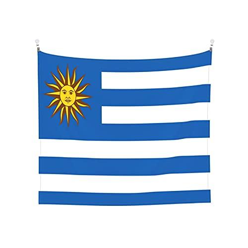 Wandteppich, Motiv: Flagge von Uruguay mit der Sonne des Mai, Wandbehang, Boho, beliebt, mystisch, Trippy, Yoga, Hippie, für Wohnzimmer, Schlafzimmer, Schlafsaal, Heimdekoration, Schwarz & Weiß