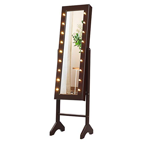 Giantex Standing Jewelry Armoire with 18 LED Lights Around the Door Large Storage Mirrored Jewelry Cabinet with Full Length Mirror 16 Lipstick Holder 1 Inside Makeup Mirror Brown