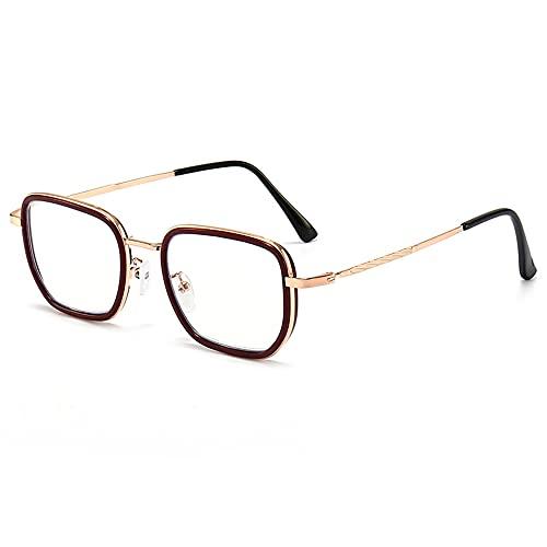 CHENPENG Gafas De Lectura con Bloqueo De Luz Azul, Gafas Cuadradas De Moda para Computadora, con Bisagra De Resorte para Mujeres, Hombres, Anti-Fatiga Visual Y Reflejos UV,A,1.0X
