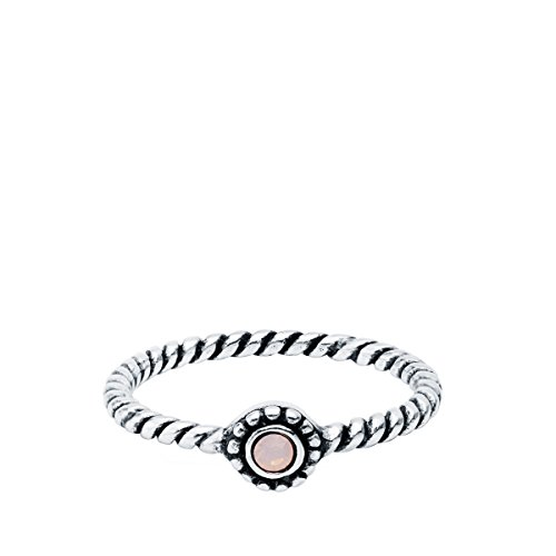 Iyé Biyé Jewels damesring Midi sterling zilver 925 zirkonia roze gedraaid