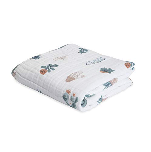 "Little Unicorn – Prickle Pots Cotton Muslin Quilt Blanket   100% Cotton   Super Soft  Babies and Toddlers   Large 47"" x 47""   Machine Washable"