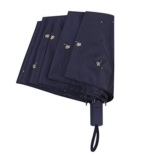 Weimay Paraguas Plegable Negro Tela de Goma Anti Ultravioleta y Viento para Actividades al Aire Libre,Flor de Diente de león Paraguas portátil Ligero Sol y Lluvia Paraguas para(Blanco)