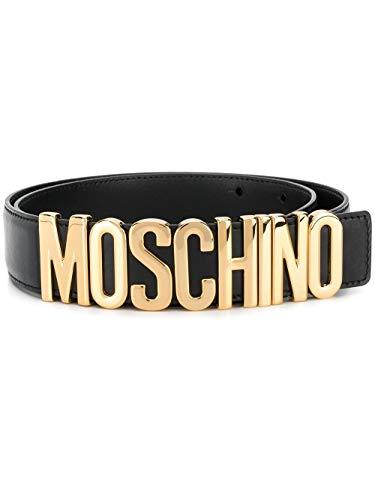 Moschino Luxury Fashion Herren A801280013555 Schwarz Leder Gürtel | Jahreszeit Permanent