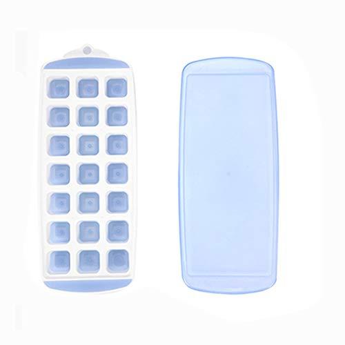Molde de celosía de Hielo de Silicona con Tapa Caja de Hielo de 21 Cuadrados Caja de Comida suplementaria Azul