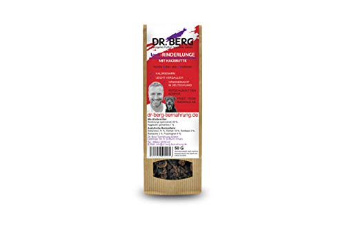 Dr. Berg Love-RINDERLUNGE mit Hagebutte: getreidefreies & gesundes Leckerli für Hunde - extra verträglich und lecker durch natürliche & hochwertige Zutaten (1 x 50 g)