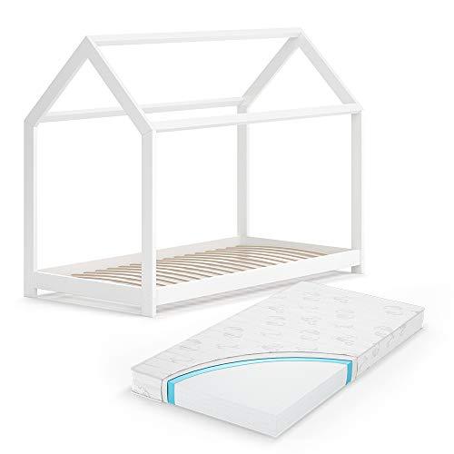 VitaliSpa Hausbett Wiki Weiß Kinderbett Kinderhaus Kinder Bett Holz Matratze (Weiß Lackiert, 80 x 160 cm + Matratze)
