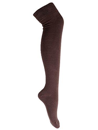 Goldschmidt Kostüme Overknees Strümpfe gestreift oder Uni gekämmte Baumwolle OneSize (braun)