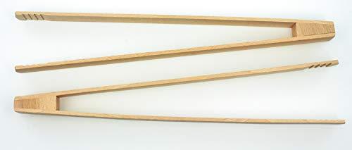 """2er Set Grillzange BBQ Zange Buche 30cm Grilltool Pfannenzange Küchenzange Servierzange Grillwender Holzzange Barbecue Grill Universalzange Kochzange Candybar Küchentool \""""EINWEG\"""" -verpackt (2)"""