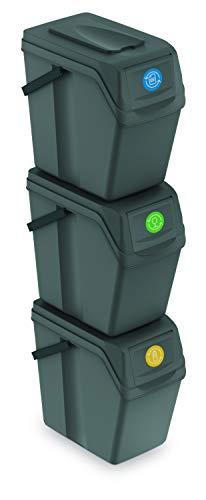 Mülltonne mit einem Griff Sortibox Mülleimer Mülltrennsystem Abfall Segregation Abfallbehälter Recycling Müllsortierer (3 x 25 L, Grauer Stein)