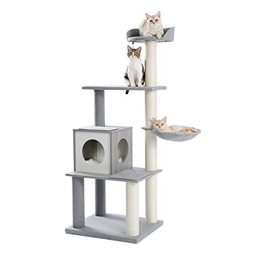 Made4Pets Modern Cat Tree Upgrade Multi-Level Cat Tower with Sisal Scratching Posts, Plush Condo, Hammock& Hanging Ball