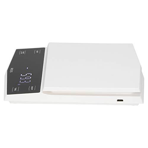 Báscula de cocina portátil, báscula digital de carga USB, 3 kg / 0,1 g para café casero con goteo manual(white)